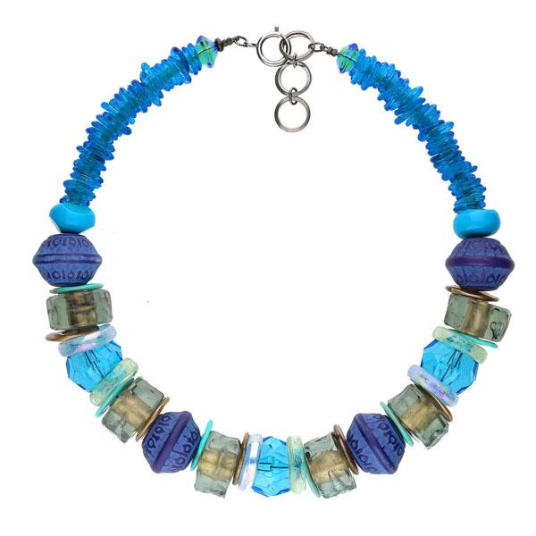 Langani Halskette Lilja in Blautönen