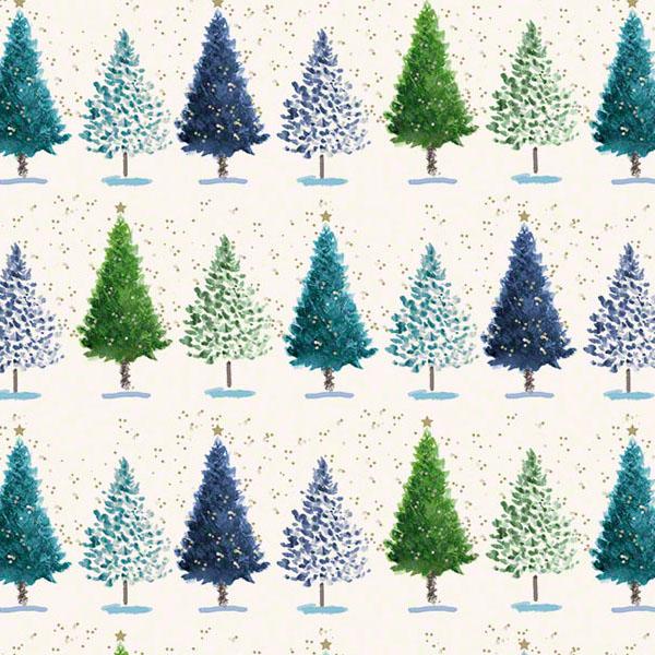 Weihnachtspapier Grafiche Tassotti Blauer Wald