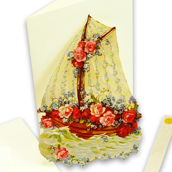 Schiff mit Blumen - Aufstellkarte von Ernst Freihoff