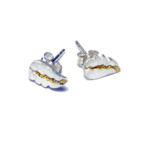 Mini- Ohrstecker aus silber und gold
