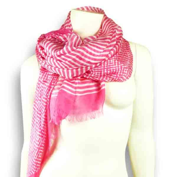 Ahmaddy Seidenschal in pink-weiß
