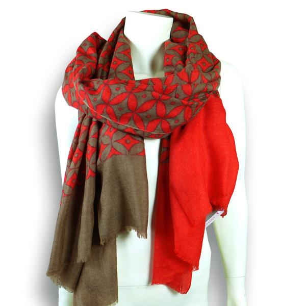 Ahmaddy Wollschal  rot mit camel und Muster
