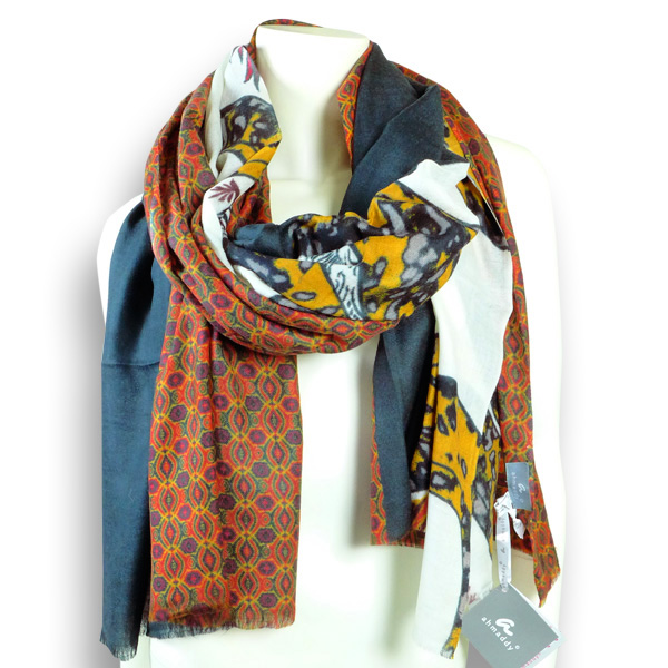 Ahmaddy Wollschal  mit Gewürzfarben und Muster