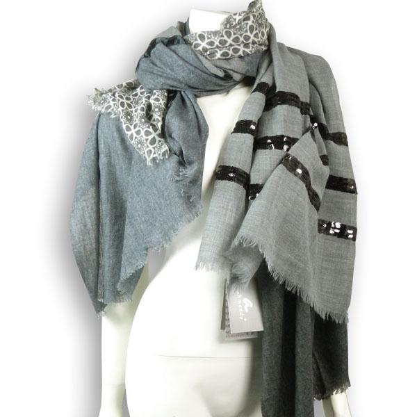 Ahmaddy Woll-Schal Patchwork grau-schwarz mit Pailletten