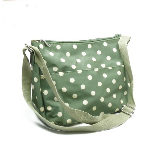 Schulter-Tasche von Blossify aus Wachstuch in grün mit Polka-Dots