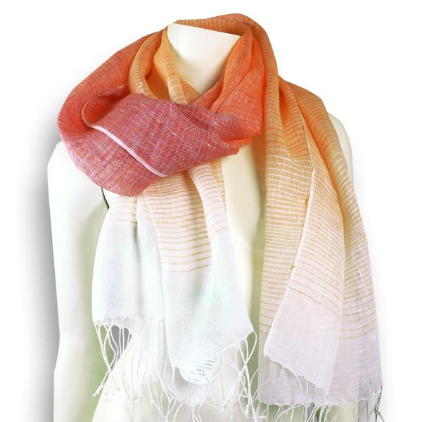 Djian Leinenschal orange-weiß