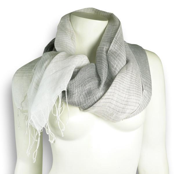 Djian Leinenschal grau-weiß