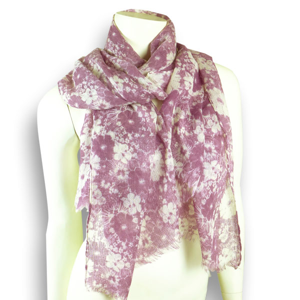 Djian Wollschal mit Blüten in brombeer/natur