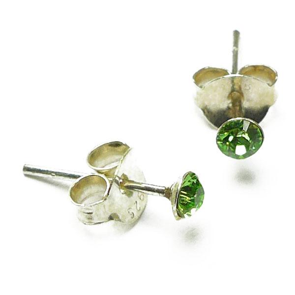 Glitzer-Ohrstecker Silber mit Zirkonia grün