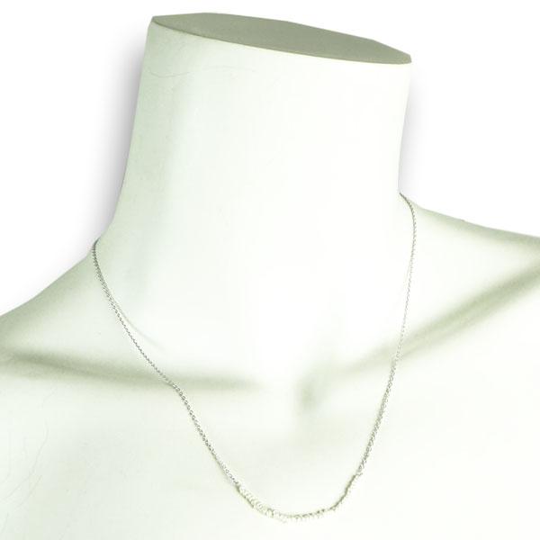 Halskette  versilbert mit kleinen Perlen