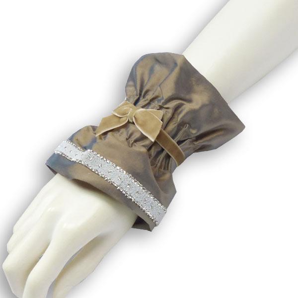 Seidenmanschette Royal taupe mit Glitzer von Lieblingsstükke