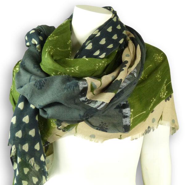 Ahmaddy Woll-Schal Patchwork MH-19 beige-grün
