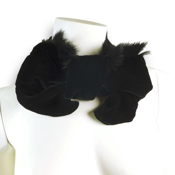 Samtschal zum Durchziehen in schwarz