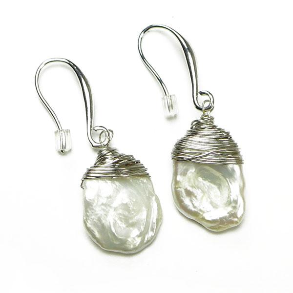 Stephisimo Keshi-Perlen mit Silberdraht