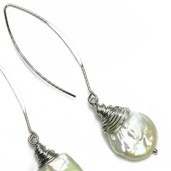 Stephisimo Keshi-Perlen lang mit Silberdraht
