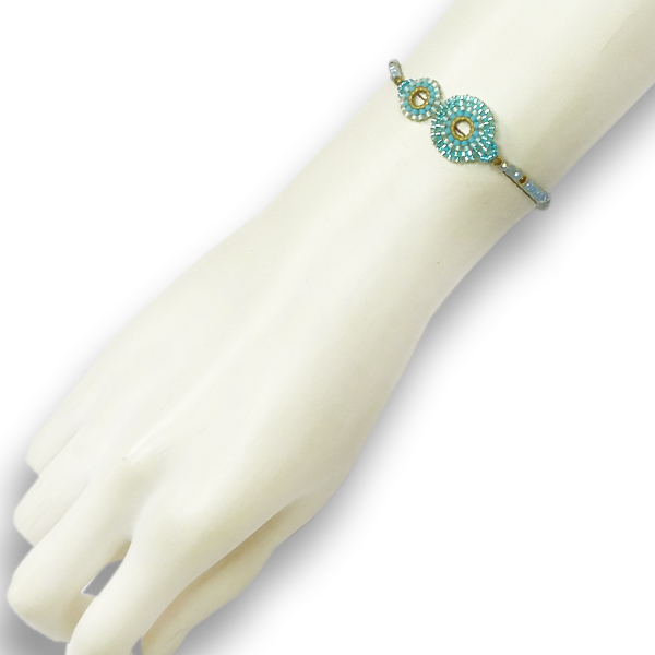 Stephisimo Armband mit Rocaille-Perlen aquamarin