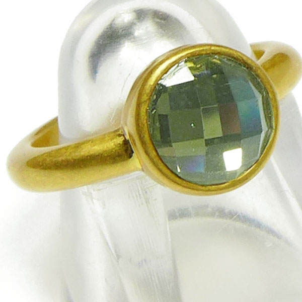 Sence Copenhagen Ring vergoldet mit grünem Schliffstein