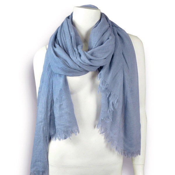 Wolle-Baumwolle Stola in steal blue