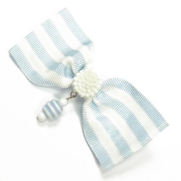 Ripsschleife zum Anstecken hellblau-weiß