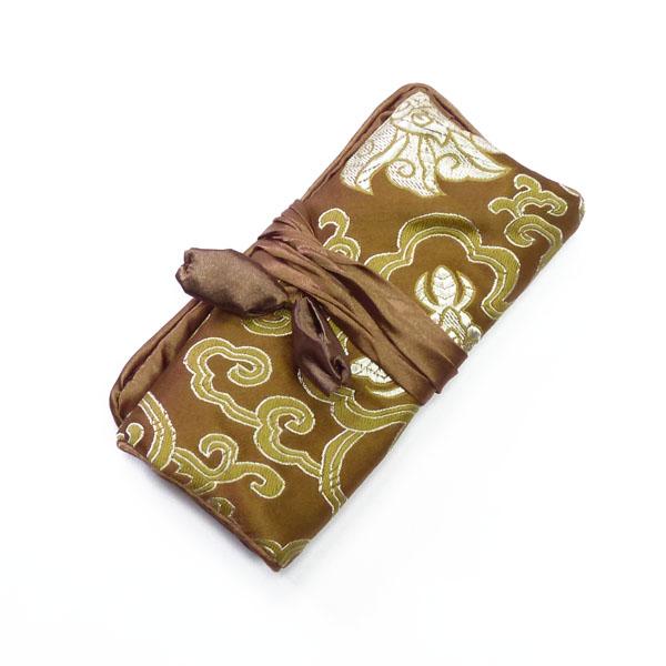 Schmuckrolle klein aus Seide in braun-gold