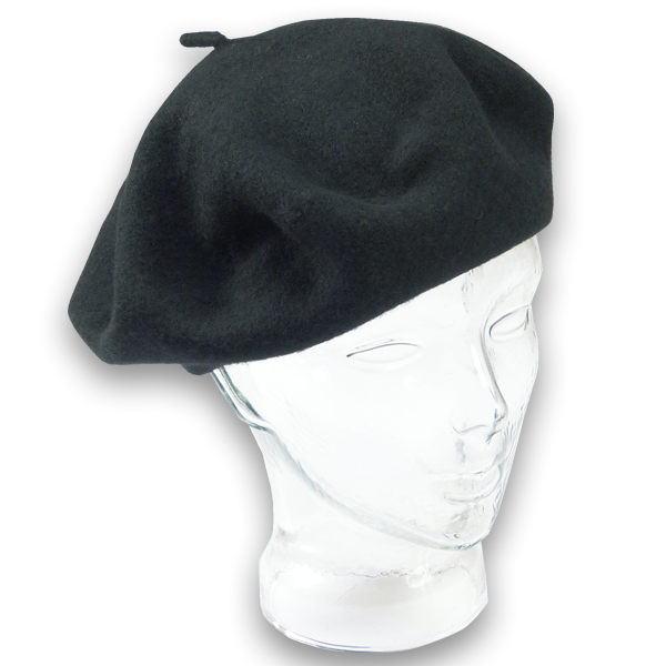 Baskenmütze aus Lambswool in schwarz