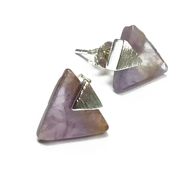 Stephisimo Ohrstecker Dreieck Silber mit Amethyst