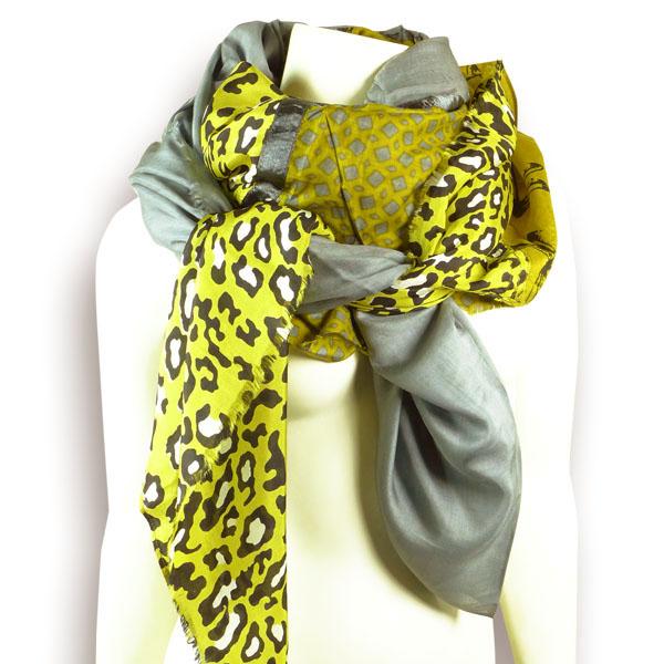 Ahmaddy Seiden-Baumwolltuch Patch grau-gelb-gold