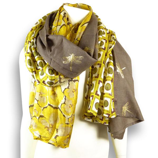 Ahmaddy Wollseiden-Schal Patch braun-gold