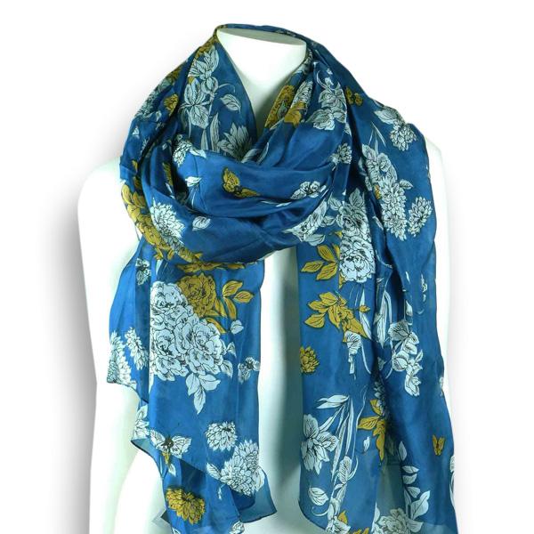 Ahmaddy Seidenschal  dunkelblau mit Blumenmuster