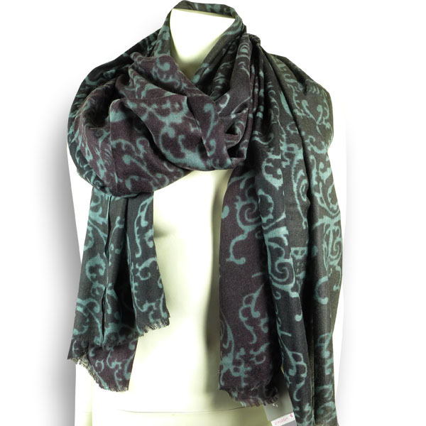Ahmaddy Wollseiden-Schal bordeaux-grau