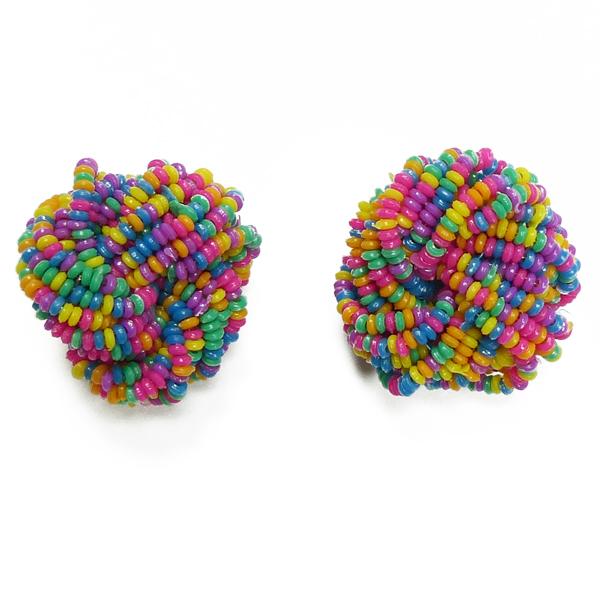 Sommerliche Ohrclips mit bunten Perlen