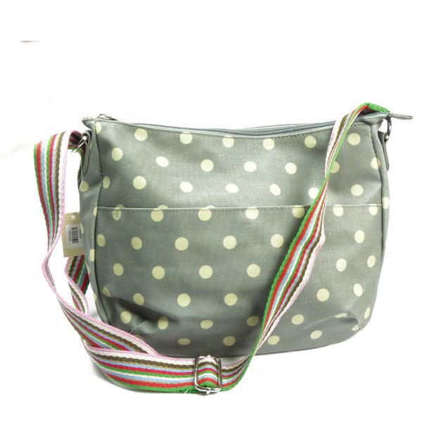 Schulter-Tasche von Huiskamergeluk aus Canvas in Polka Dots grey