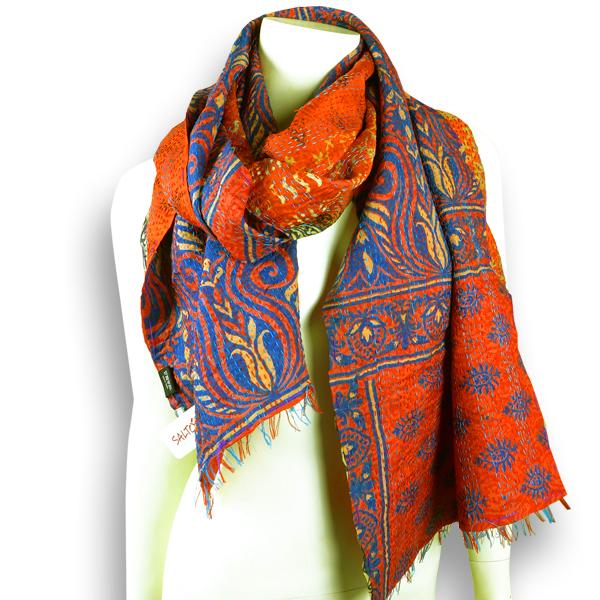 Seidenschal aus orange-lila Sari - Upcycling von Salto