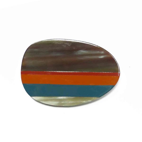 "Stephisimo Horn-Brosche ""Craft Art""  oval petrol-orange"