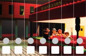 Ordnerrücken nach Edward Hopper mit Lego Figuren