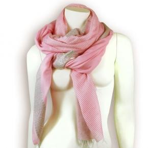 Ahmaddy Seidenschal Streifen mit Uni pink-grau