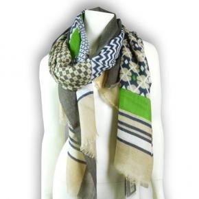 Ahmaddy Wollschal grün und beige mit attraktivem Muster