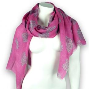 Ahmaddy Wollschal  pink mit Rosen