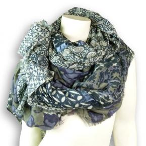 Ahmaddy Woll-Schal Patchwork blau-weiß
