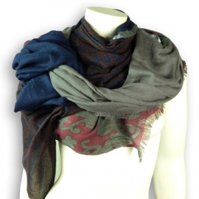 Ahmaddy Woll-Schal Patchwork blau-grau