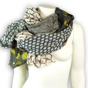Ahmaddy Woll-Schal Patchwork beige-grau
