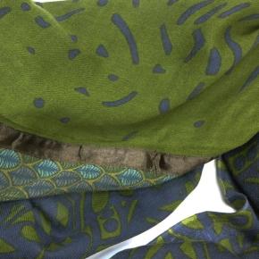 Ahmaddy Woll-Schal Patchwork grün-blau MH-84