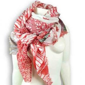 Ahmaddy Seiden-Baumwolltuch Quadrato - rot-weiß Mix