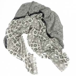 Ahmaddy Wollschal Quadrato grau-schwarz