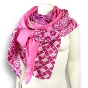 Ahmaddy Seiden-Baumwoll Tuch pink mit Muster