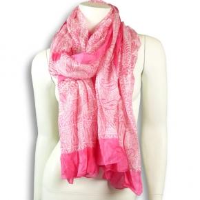 Ahmaddy Seidenschal pink mit weiß