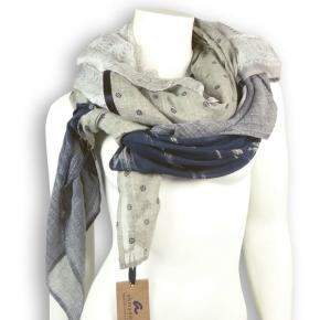 Ahmaddy Seide-Baumwolle Tuch Quadrato beige-black