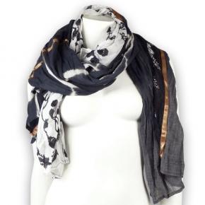 Ahmaddy Seide-Baumwolle Tuch Quadrato black-white