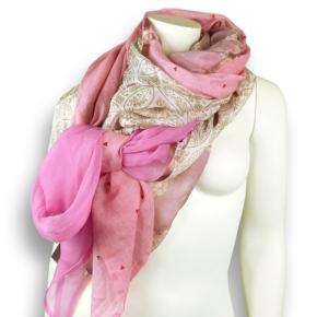 Ahmaddy Seiden-Baumwolltuch Quadrato pink-rose