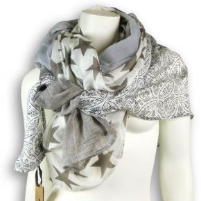 Ahmaddy Seide-Baumwolle Tuch Patchwork grau-silberweiß